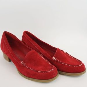 Marc Fisher Loafers Red Suede Calera Leather
